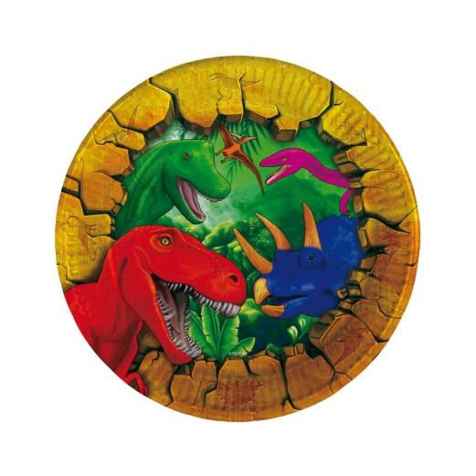 Dinosaurier | Pappteller 18 cm - 6 Stück