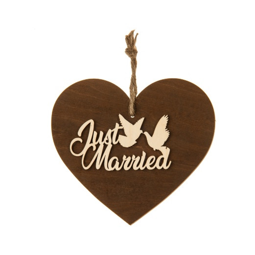 3-D Holzherz - Just Married