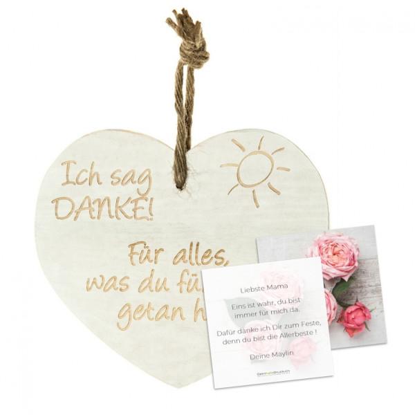 Vintage-Herz «Ich sage Danke» mit Grusskarte
