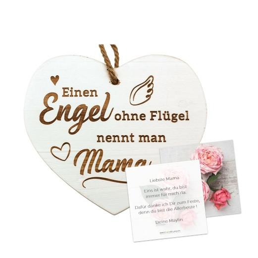 Vintage-Herz «Engel ohne...» mit Grusskarte