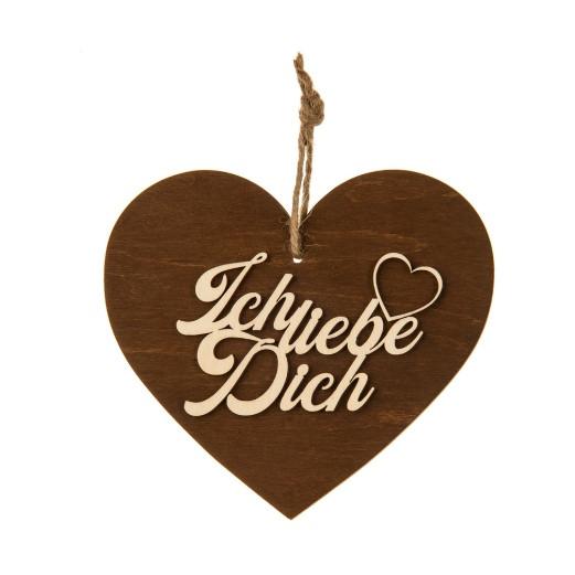 3-D Holzherz «Ich liebe Dich»