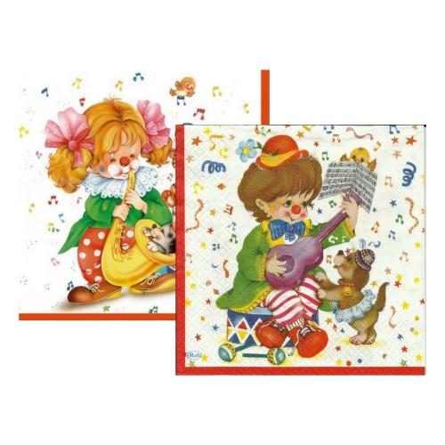 Music Clown | Servietten 33 x 33 cm - 20 Stück