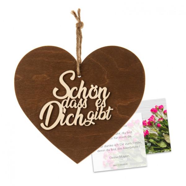 3-D Holzherz «Schön, dass...» mit Grusskarte