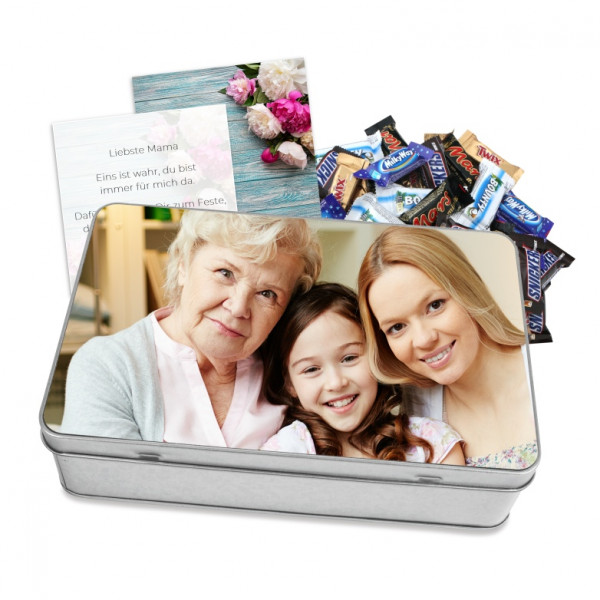 Fotodose big befüllt mit Schokolade & Grusskarte