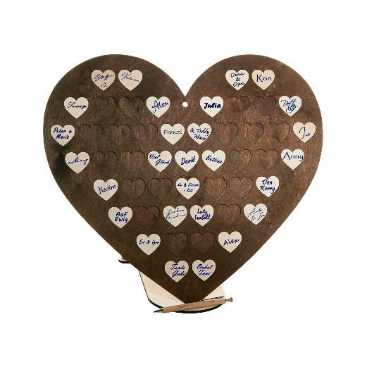 Gästebuch Herzform mit 50 Holzherzen