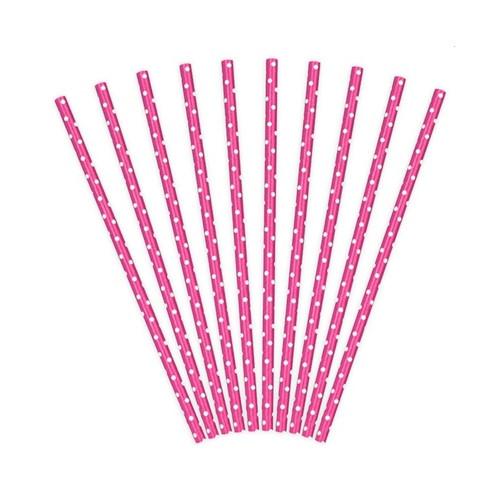 Papierstrohhalme pink-weiss | 10 Stück