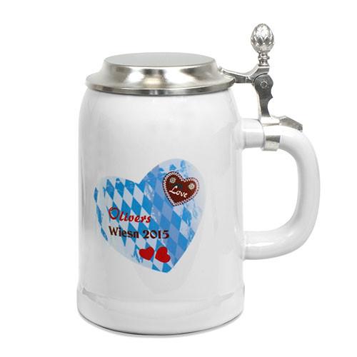 Bierkrug 500 ml mit Zinndeckel