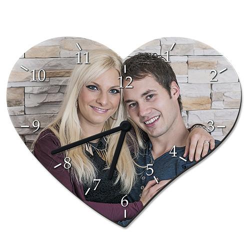 Hartfaser-Wanduhr Herz | Fotodruck