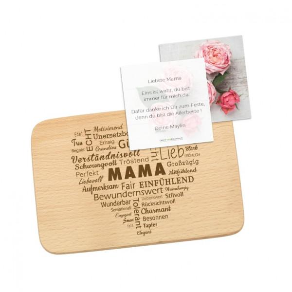 Schneidebrett «Mama» Wortherz mit Grusskarte