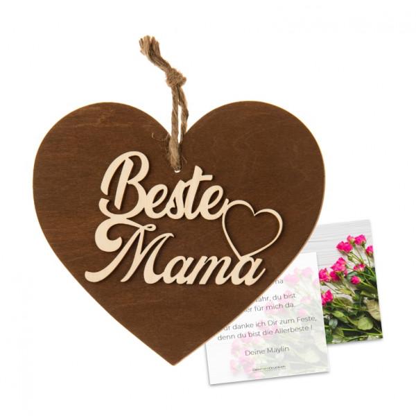 3-D Holzherz «Beste Mama» mit Grusskarte