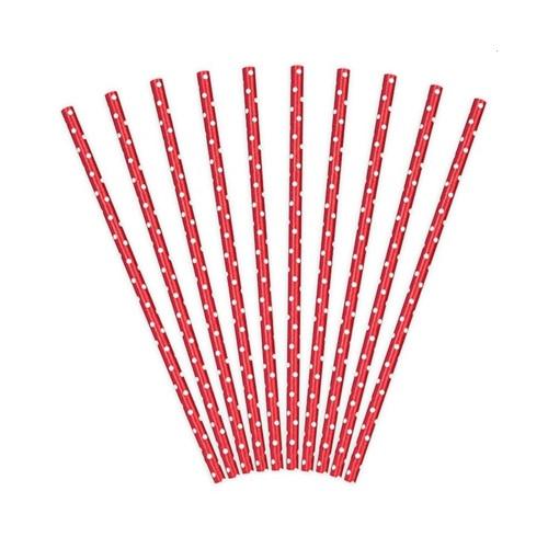 Papierstrohhalme rot-weiss | 10 Stück