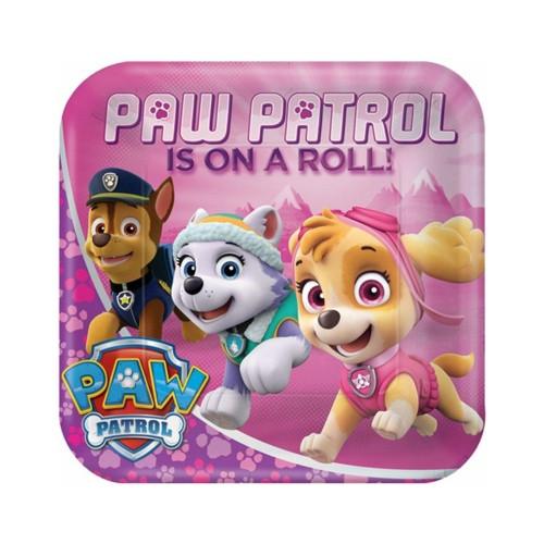 Paw Patrol Girl | Pappteller 23 x 23 cm - 8 Stück