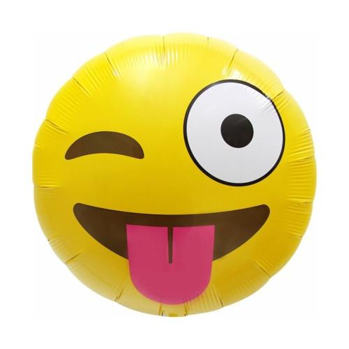 Emoji zwinkert | Heliumballon 46 cm - befüllt