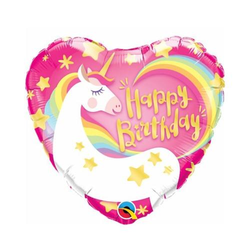 Herz Einhorn B-Day | Heliumballon 46 cm - befüllt