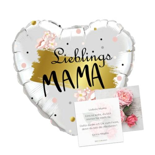 Mama gold | Heliumballon & Grusskarte - befüllt