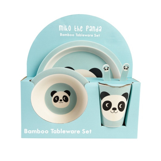 Bambus Geschirrset mit Pandamotiv