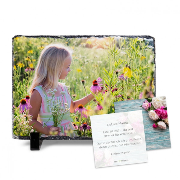 Foto Schiefertafel 15 x 20 cm mit Grusskarte