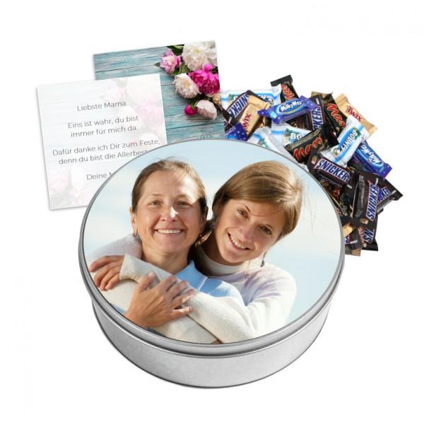 Fotodose rund befüllt mit Schokolade & Grusskarte