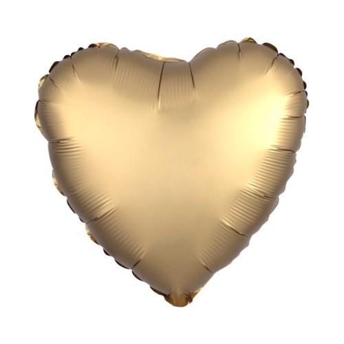 Herz gold | Heliumballon 46 cm - befüllt