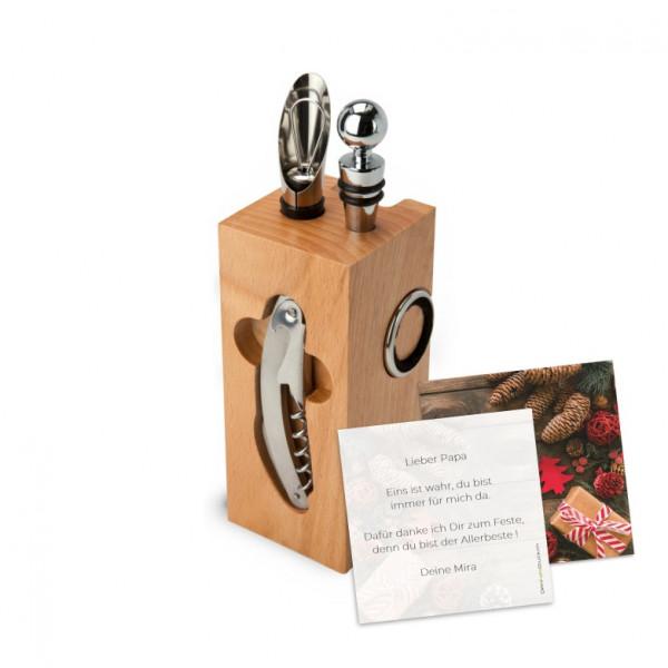 Weinaccessoires Block | 8-teilig inkl. Grusskarte