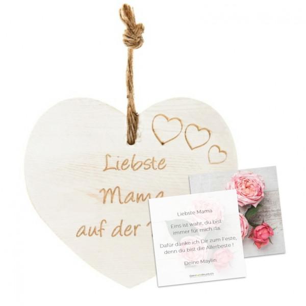 Vintage-Herz «Liebste Mama...» mit Grusskarte