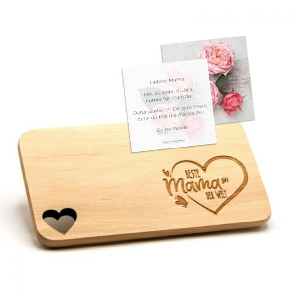 Schneidebrett «Mama Herz..» mit Grusskarte