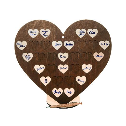 Gästebuch Herzform mit 30 Holzherzen