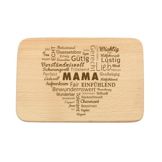 Schneidebrett mit Gravur «Mama» Adjektive