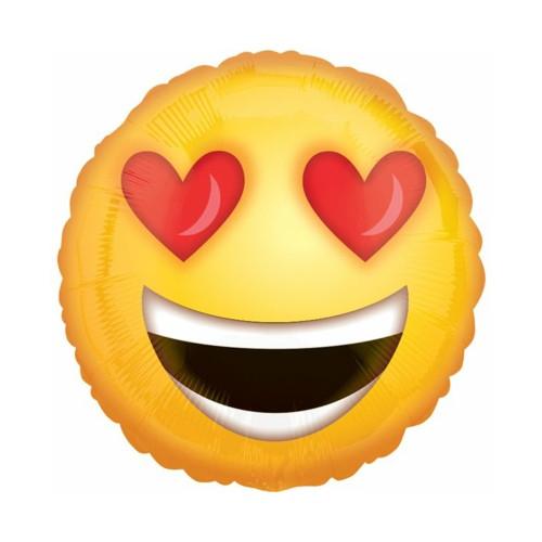 Emoji Herz Augen | Heliumballon 46 cm - befüllt